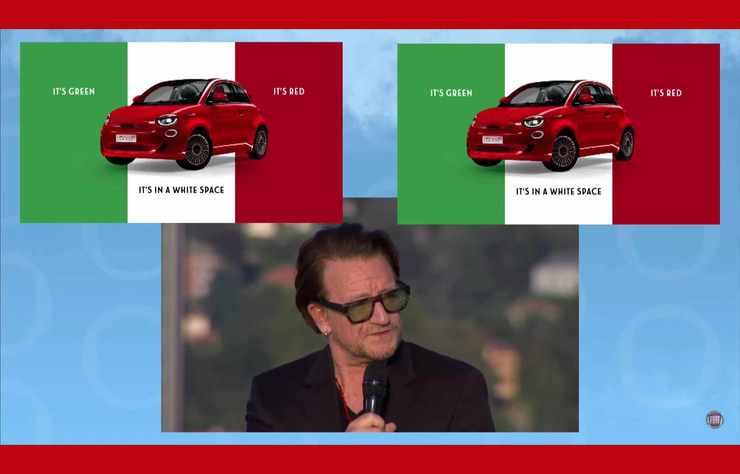 Bono présente la Fiat 500 Red