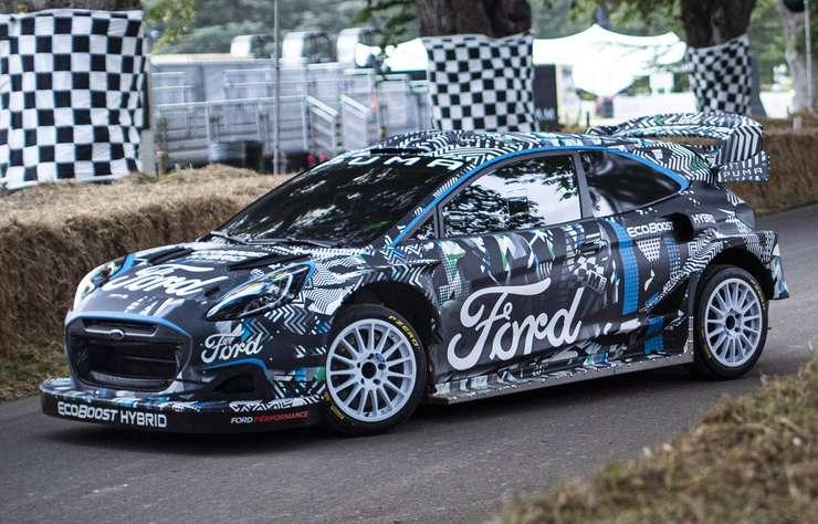 Voiture de course Ford Puma Rally1 WRC hybride