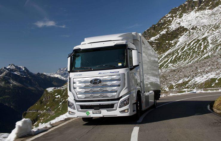 Poids lourd Hyundai Xcient à hydrogène en Suisse