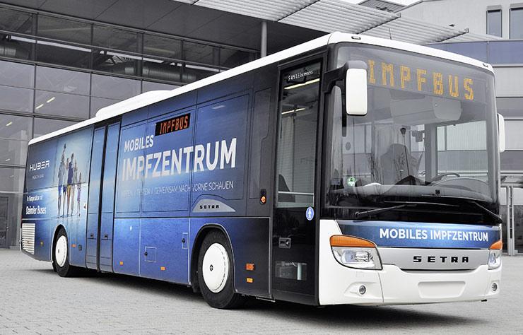 Autobus Setra pour vacciner contre le Covid