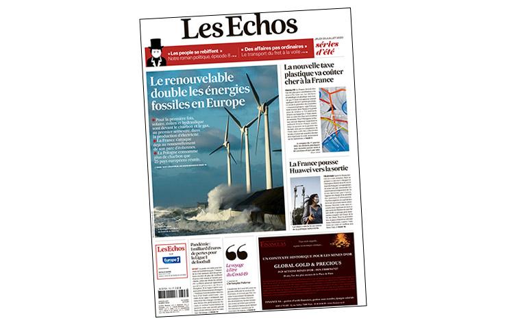 Première page quotidien Les échos