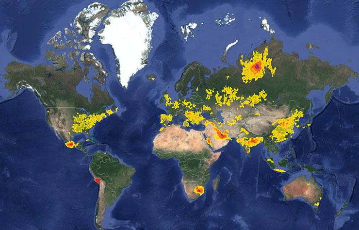 Carte de la pollution au dioxyde de soufre
