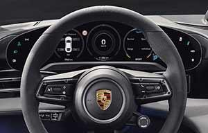 Le tableau de bord de la Porsche Taycan