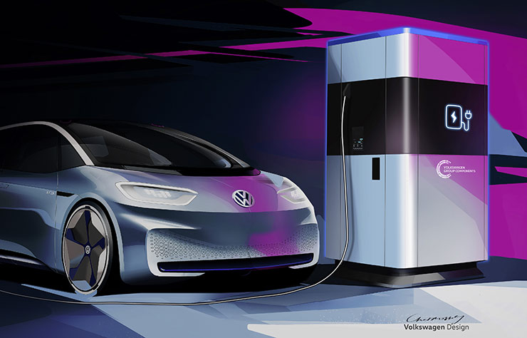Esquisse d'une borne de recharge Volkswagen