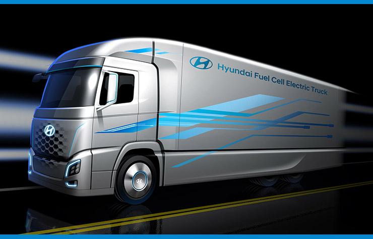 Esquisse d'un poids lourd à hydrogène Hyundai