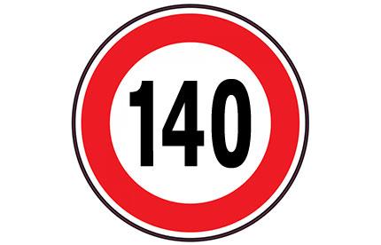 Vitesse maximale autorisée de 140 km/h