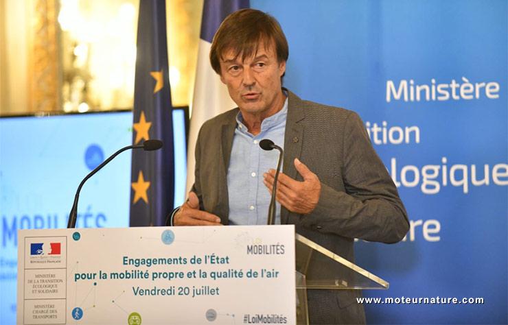 Nicolas Hulot lors de la présentation de la loi Mobilités à Paris, le 20 juillet