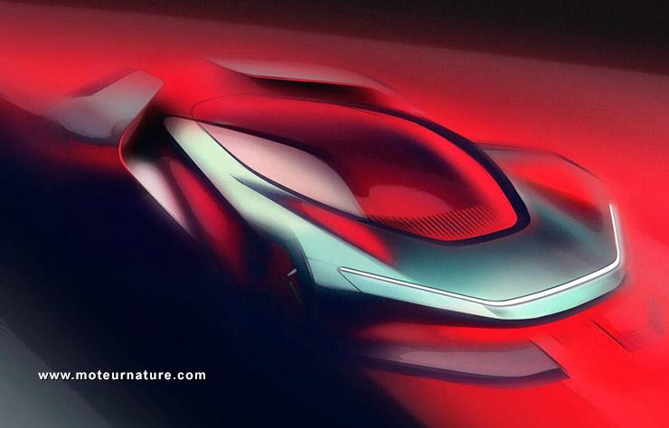 Esquisse de la future hypercar électrique de Pininfarina