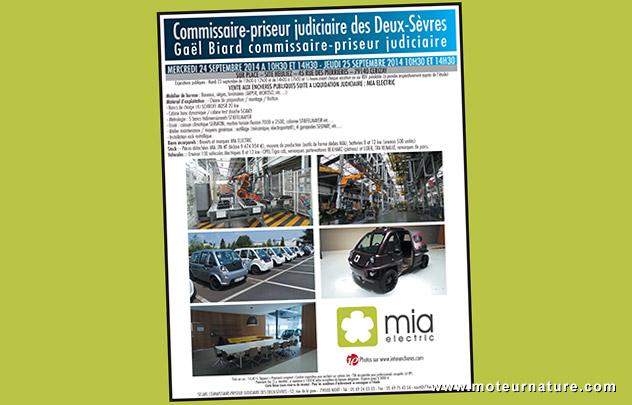 Mia Electric, vente de liquidation