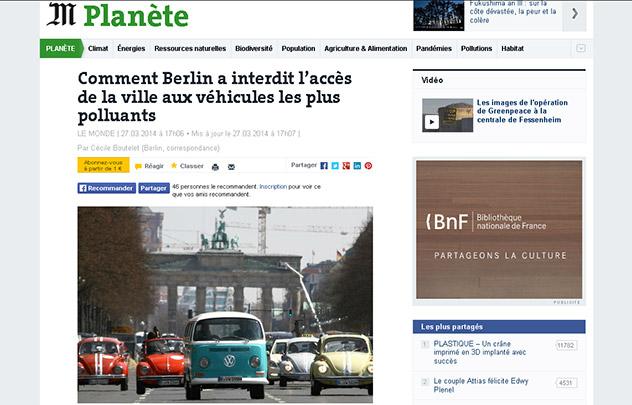 Pollution de l'air: le quotidien Le Monde salue l'exemple allemand