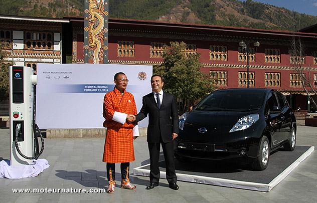 Nissan Leaf au Bhoutan
