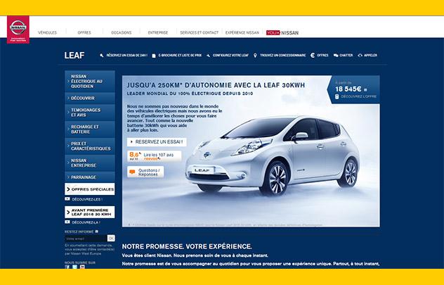 Copie d'écran site Nissan