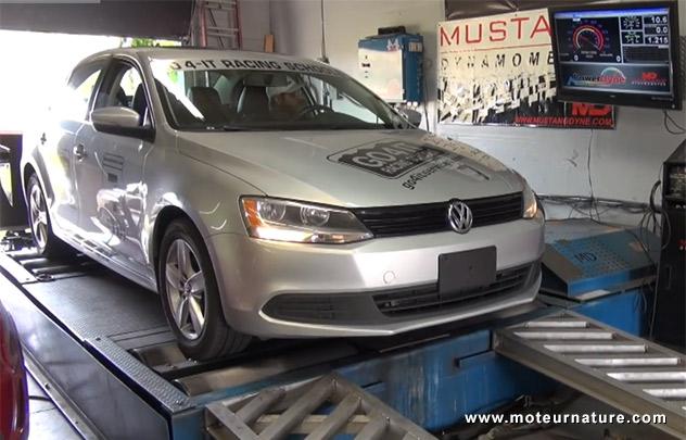 Volkswagen Jetta TDI sur un banc d'essai
