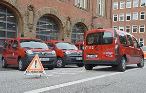 Les pompiers de Hambourg en Kangoo ZE