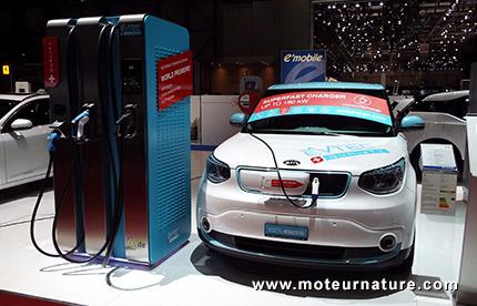 Kia Soul EV sur une borne EVTEC 180 kW au salon de Genève