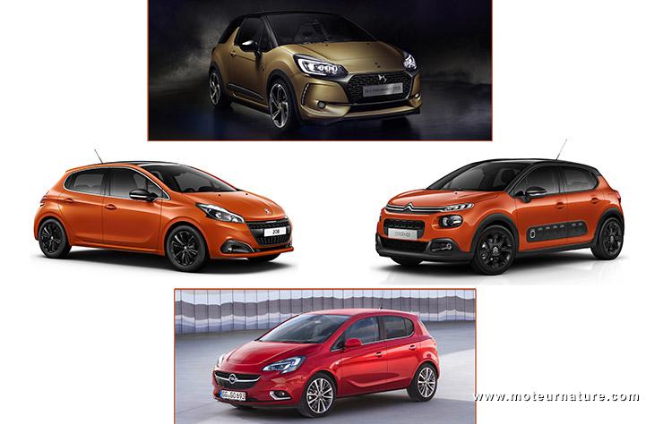 Citroën C3, DS3, Opel Corsa, Peugeot 208