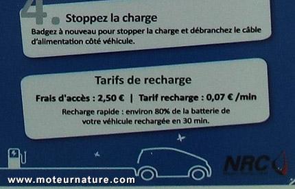 Conditions d'accès à une borne de recharge pour voiture électrique