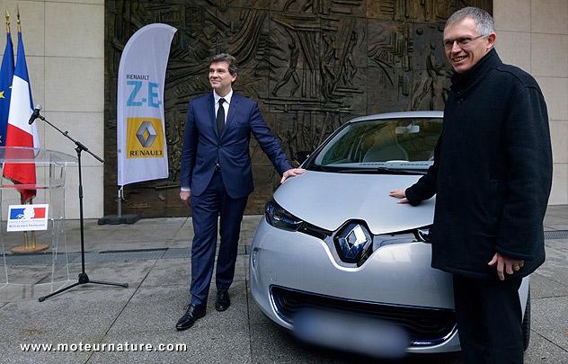 Arnaud Montebourg en Renault Zoe