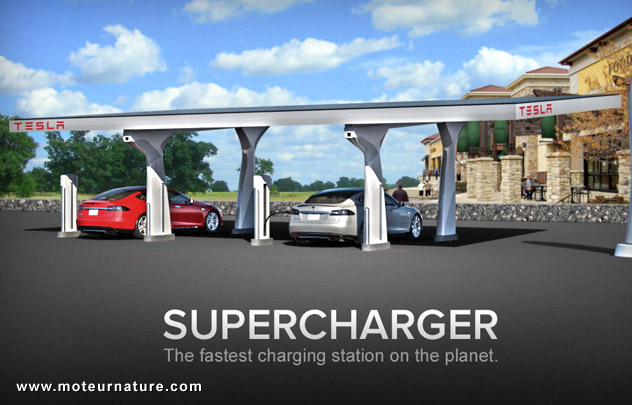 Tesla superfast solar charging station