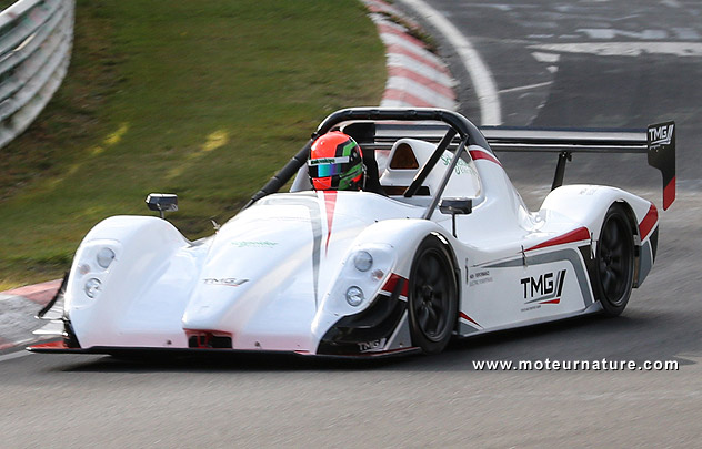 Toyota TMG EV P002 racing on the Nurburgring