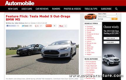 Non, la Tesla modèle S n'est pas plus rapide qu'une BMW M5!