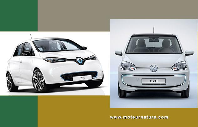 Renault Zoé et Volkswagen e-up!